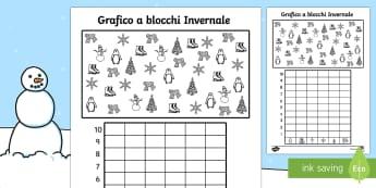 Colora e riempi il Grafico Invernale - Winter Themed Colour Count and Graph Worksheet - winter themed, winter, themed worksheets, winter th