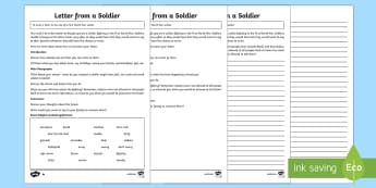 Write a Letter from a First World War Soldier Differentiated  Writing Activity Sheet - First World War KS2, great war, world war one, letter, writing, home, WW1, remembrance day,