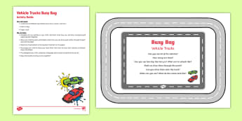 Vehicle Tracks Busy Bag Resource Pack for Parents - Transport,Travel, gross motor, fine motor, vehicles, tracks, paint, prints
