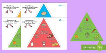 Hacer una pirámide 3D de los grupos alimenticios