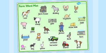 Set de mots : Les animaux de la ferme - ferme, farm, vache, cow, cochon, pig, poule, chicken, canard, duck, old mac donald, chanson, song, comptine, cycle 1, cycle 2, anglais, langue vivante