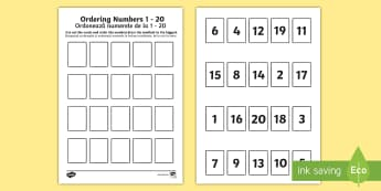 Ordering Numbers 1 to 20 Game English/Romanian - Ordering Numbers Game 1 to 20 - order, number, maths, activity, numbes, nubers, matsh, seriation,Rom
