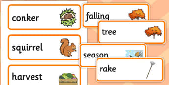 Autumn Pre-Teaching Word Cards - autumn, pre-teaching, word cards