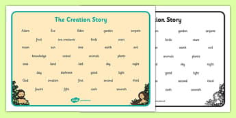 Adam and Eve Creation Story Word Mat - Adam, Eve, Eden, serpent, fruit, earth, garden, creation, creation story,word mat, writing aid, mat, paradise, sea creatures, birds, stars, moon, sun, tree, evil, knowledge, animals, sky, night, day