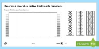 Decoreaza covorul Decupează și lipește - Ziua Națională a României, ziua națională, 1 decembrie, traditional, motive, decupează, lipeș