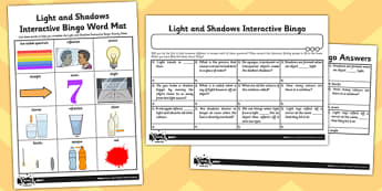 Activity Sheet Light and Shadows Interactive Bingo - activity, light, shadows, bingo, worksheet