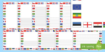 Flags Of the World Page Borders - Flags of the world, flags, world, country, countries, all around the world, worldwide, flag, around the world, globe
