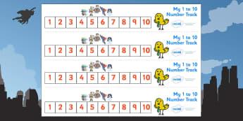 Superhero Number Track (1-10) - Superhero, Maths, Math, number track, numbertrack, Counting, Numberline, Number line, Counting on, Counting back, Superhero, superheroes, hero, batman, superman, spiderman, special, power, powers, catwoman, liono, he-m