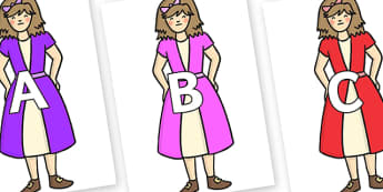 A-Z Alphabet on Beautys First Sister - A-Z, A4, display, Alphabet frieze, Display letters, Letter posters, A-Z letters, Alphabet flashcards
