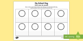 My School Day Activity Sheet English/Romanian - worksheet, My School Day Worksheet - timetable, daily routine, transition, rountines, Timw, trasitio