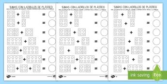 Ficha de actividad: Sumas con ladrillos de plástico - ladrillos, plástico, lego, juguete, sumar, sumas, sumas, adición, mates, matemáticas, EI,Spanish