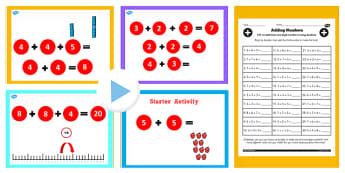 Year 2 Adding Three One Digit Numbers Lesson 2 Teaching Pack