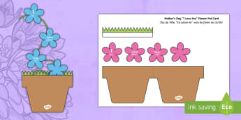 Mother's Day Flowers in Pot Card Craft English/Portuguese - Mothers Day Flowers in Pot Card Craft - mothers day, flowers, pot, craft, mum, eal