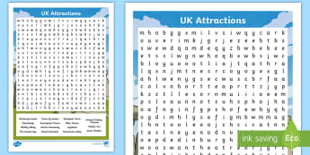 UK Tourist Attractions Word Search - tourism, UK, holiday, boredom, London, checklist