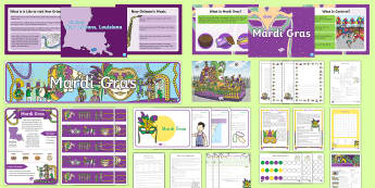 Mardi Gras Grades 3-5  Resource Pack - Mardi Gras, Fat Tuesday, Shrove Tuesday, Carnival,pancakes, new orleans, king cakes