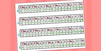 Elf Themed Number Lines 0-20 - number lines, elf, 0-20, number