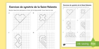 Symétrie -  La Saint-Valentin Feuille d'activités - Saint-Valentin, Valentine's Day, février, February, love, amour, amoureux, fleurs, flowers, gift,