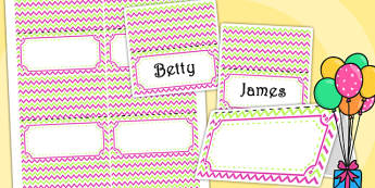 Zig Zag Birthday Party Place Names And Food Labels Pink And Green