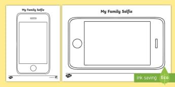 My Family Selfie Activity Sheet - Australia, EYLF, family, selfie, draw, technology, ICT, kindergarten, pre-primary, prep, reception,