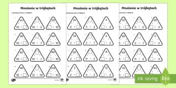Karty Mnożenie w trójkątach - iloczyn, matematyka, pomnóż, mnożyć, liczby, liczb, trójkąt,Polish