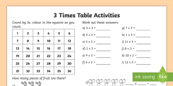 3 Times Table Activity Sheet - Multiplication, Times Table, 3 Times Table, Counting by 3s, worksheet