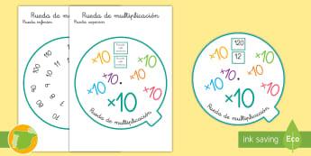 Rueda de multiplicación: ×10 - tabla de multiplicar, múltiplos, ficha, mates, matemáticas, x10, por diez, multiplicar, multiplica