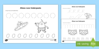Pencil Control Sheets to Support Teaching on Aliens Love Underpants - aliens love underpants, pencil control sheets, aliens love underpants pencil control, worksheets