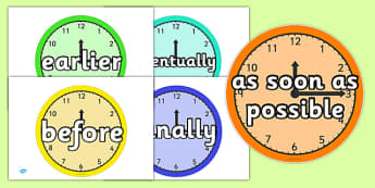 Good Time Connectives - Time Conjunctions on Clocks - time, connectives, clock, after