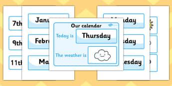 Calendr dyddiol/Siart Tywydd - Weather calendar, Weather chart, weather, calendar, months, days, weather display, date display, rain, sun, snow, fog, cloud