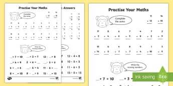 Practise Your Maths Skills Addition and Subtraction Activity Sheet  - NI, KS1, Numeracy, Addition, subtraction, monkey, missing numbers, homework, home learning, mental m