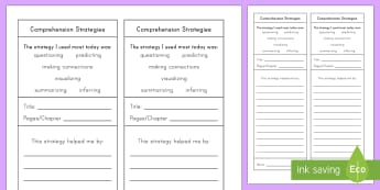 Comprehension Strategies Activity Sheet - Comprehension Activities, understanding, reading, summary, retell, connections, main idea, details,