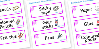 Pink Themed Editable Creative Area Resource Labels - Themed creative resource labels, Label template, Resource Label, Name Labels, Editable Labels, Drawer Labels, KS1 Labels, Foundation Labels, Foundation Stage Labels