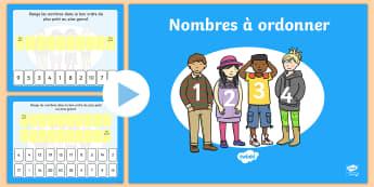PowerPoint : Nombres à ordonner - ordonner les nombres, ordre, nombres, Powerpoint, powerpoint, 0 à 10, 0 à 20, maths, mathématique