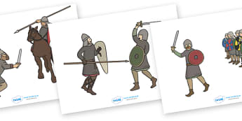 The Battle of Hastings Story Cut Outs - The Battle of Hastings, English, Normans, battle, cut outs, cutting, cut, Saxons, Harold, William, sword, archer, retreat, cavalry, arrow, eye