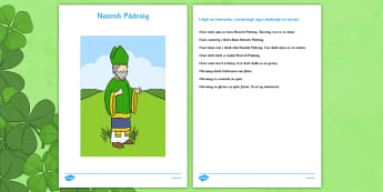 Irish Gaeilge Naomh Pádraig Complete the Picture Activity - reading, comprehension, Gaeilge, Irish, Saint Patrick, drawing