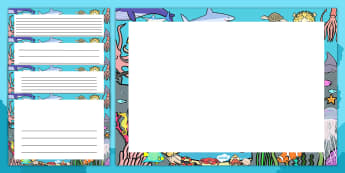 Under the Sea Decorative Landscape Page Borders - under the sea, page borders