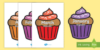 Months of the Year on Cupcakes English/Polish - Months of the Year on Cupcakes - Months of the Year, Months poster, Months display, display, poster,