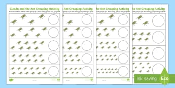 Cicada and the Ant Cicada Differentiated Number Activity Sheet - Traditional Thai Tales, counting, grouping, 2s, 3s, 4s, 5s