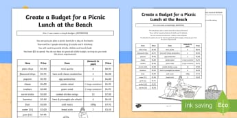 Create a Budget for a Picnic Lunch at the Beach Activity Sheet - worksheet, money, dollars, cents, adding money, shopping