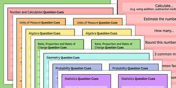 Maths Question Cue Cards Pack - KS3, KS4, GCSE, Maths, exam, revision, keywords, number, calculation, algebra, geometry, number and calculation, probability, ratio, proportion, statistics, measure, peer assessment, independent, growth mindset