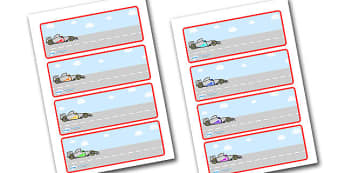 Editable Drawer - Peg - Name Labels (Racing Cars) - Racing Car Label Templates, car, Resource Labels, Name Labels, Editable Labels, Drawer Labels, Coat Peg Labels, Peg Label, KS1 Labels, Foundation Labels, Foundation Stage Labels, Teaching Labels