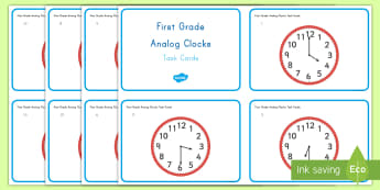 Common Core First Grade Math MD B 3 Reading Analog Clocks Task Cards - Measurement and Data, Analog Clocks, Telling Time