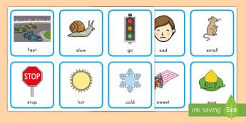 Antonyms Matching Cards - Antonyms, Common Core, Memory Game, KS!, Kindergarten, Matching Game
