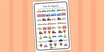 Finish The Sequence Transport Worksheet - sentences, transport