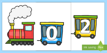 0-10 on Trains - 0-10, trains, transport, transportation, numbers, 0, 10, maths, mathematics, numeracy