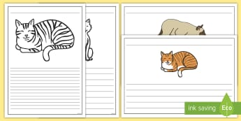 Cat Themed Writing Frames - Pets, cat, dogs, rabbits, budgie, guinea pig, hamster, snake, writing frames