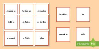 Matching Game Simile - matching game, simile, match, game, matching, activity