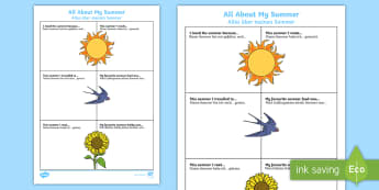 All About My Summer Activity Sheet - English/German  - All About My Summer Activity Sheet - all about me, summer, activity, holiday,summertime,summertime,a