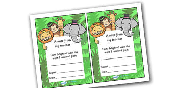 Note From Teacher Delighted With Work (Jungle Themed) - note from teacher delighted with work, delighted with work, note from teacher, notes, praise, comment, note, teacher, teacher's, parents, delighted, work, jungle, jungle themed, themed