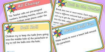 Parachute Games Activity Cards - parachute games, games, parachute, activity cards, game cards, word cards, cards, matching cards, cards for activities